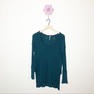 Free People Teal Scoop Neck Waffle Knit Top